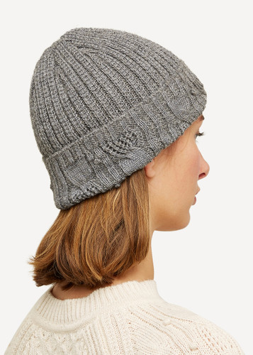 Linnea Oleana Textured Knitted Hat, 423D Dark Grey
