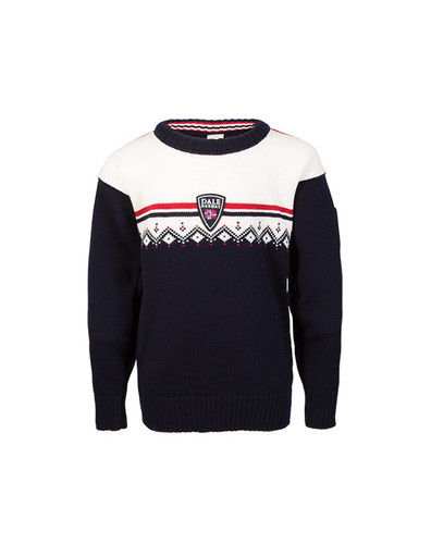 Dale of Norway Lahti Sweater, Childrens - Navy/Off White/Raspberry, 93311-C