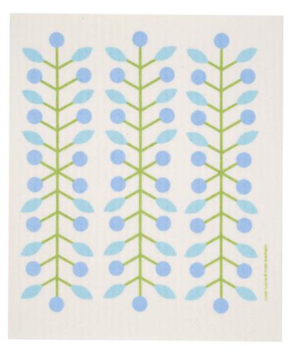 Swedish Dishcloth - Berry Branch, Blue