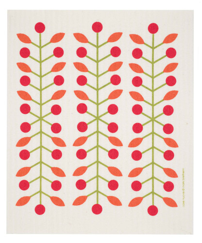 Swedish Dishcloth - Berry Branch, Red