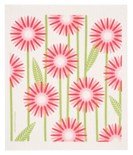 Swedish Dishcloth - Daisies, Pink