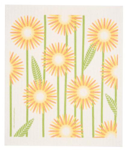 Swedish Dishcloth - Daisies, Yellow