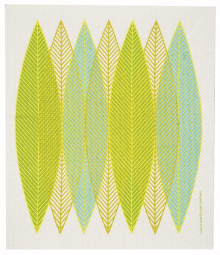 Swedish Dishcloth - Blade Leaves, Green