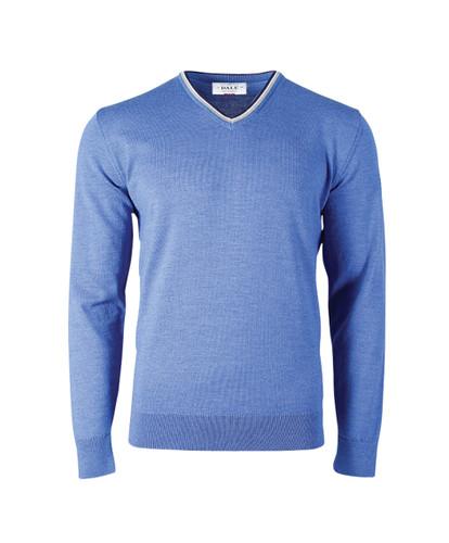 Dale of Norway Kristian Sweater, Mens - Medium Blue Mel/Light Grey/Off White Mel/Navy Mel, 93131-H