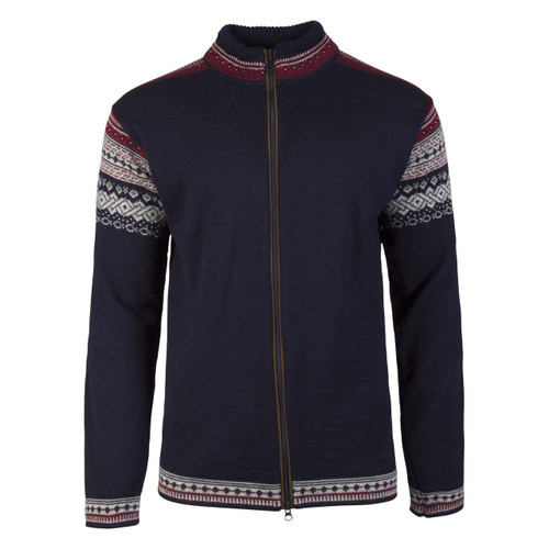 Dale of Norway Bergen Cardigan, Mens - Navy/Light Charcoal/Red Rose, 83171-C