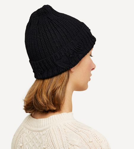 Linnea Oleana Textured Knitted Hat, 423O Black/Grey