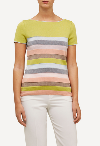 Juliette Oleana Short Sleeve Top with Wide Stripes, 310Y Yellow