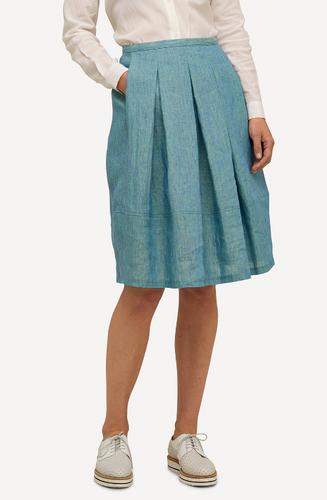 Emma Oleana Short 100% Linen Skirt, 88QG Light Blue