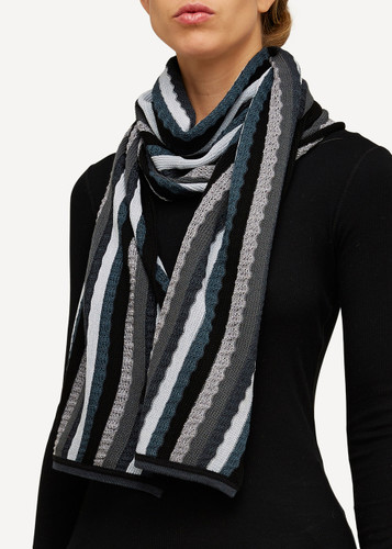 Else Oleana Striped Shawl, 323O Black
