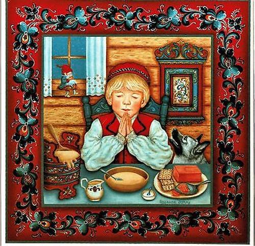 Suzanne Toftey Tile - Norwegian Table Prayer Boy