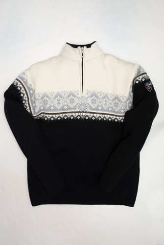 Dale of Norway, St. Moritz mens pullover in Black/Metal Grey/Off White, 91391-F