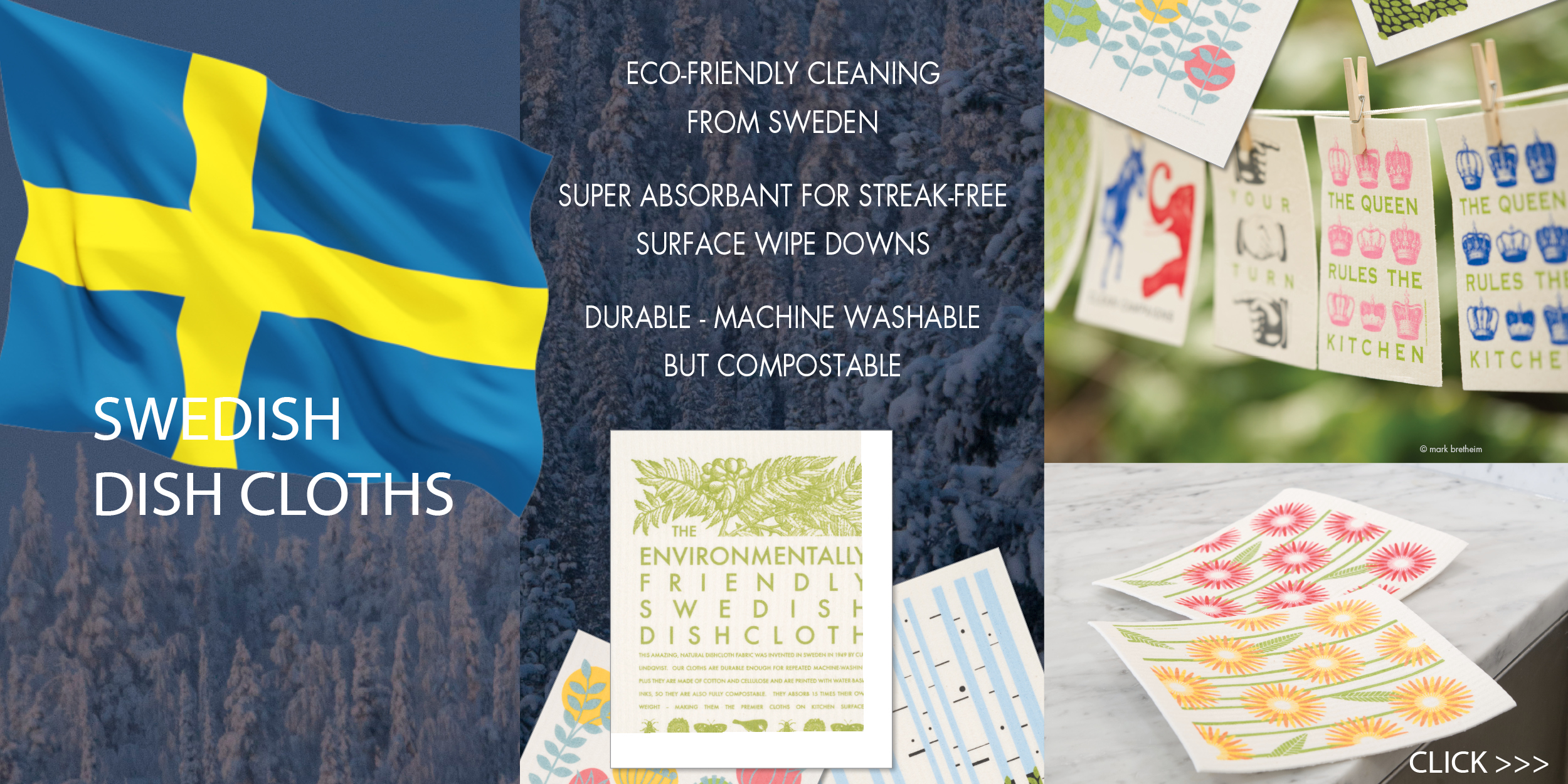 Swedish Dishcloths are available at The Nordic Shop