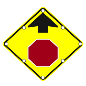 W3-1 SOLAR STOP AHEAD SIGN