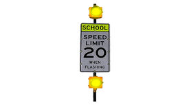 Double Beacon School Zone Sign
