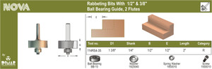 1-3/8IN OD RABBETING BIT WITH 3/8IN BEA