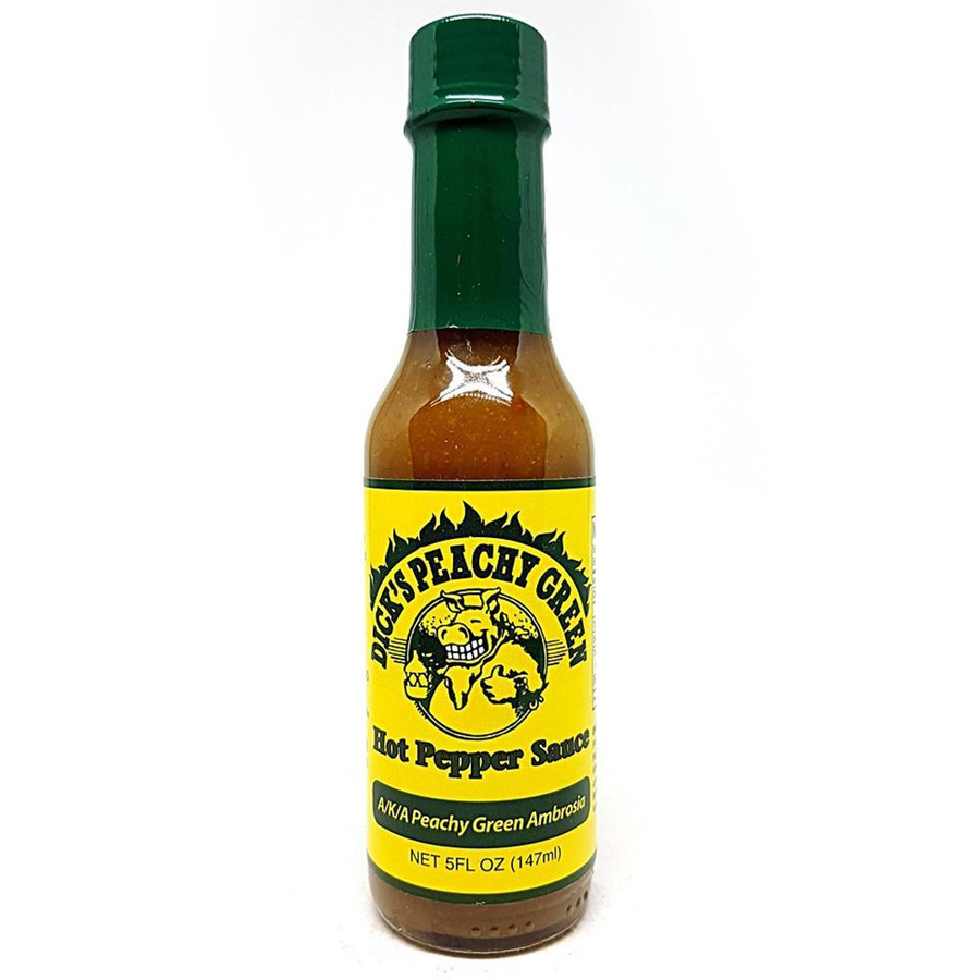 Dirty Dick's Peachy Green Hot Sauce available online at Pepper Explosion