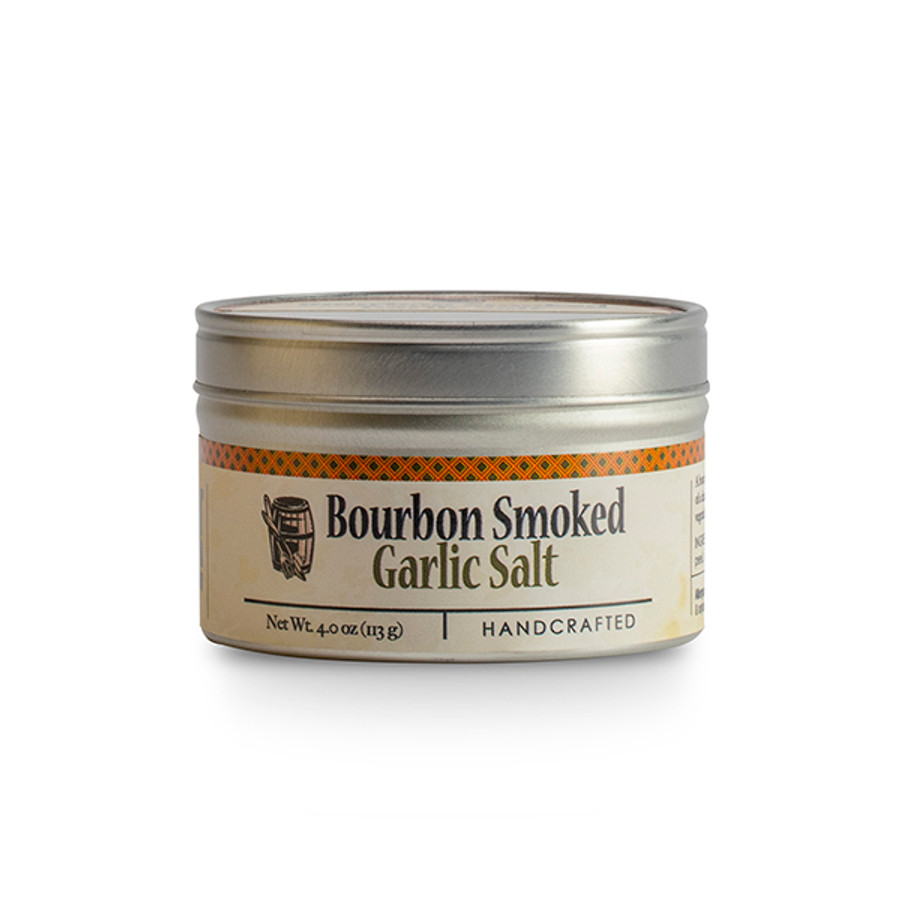 Bourbon Smoked Garlic Salt - available at PepperExplosion.com your source for Bourbon Barrel Foods