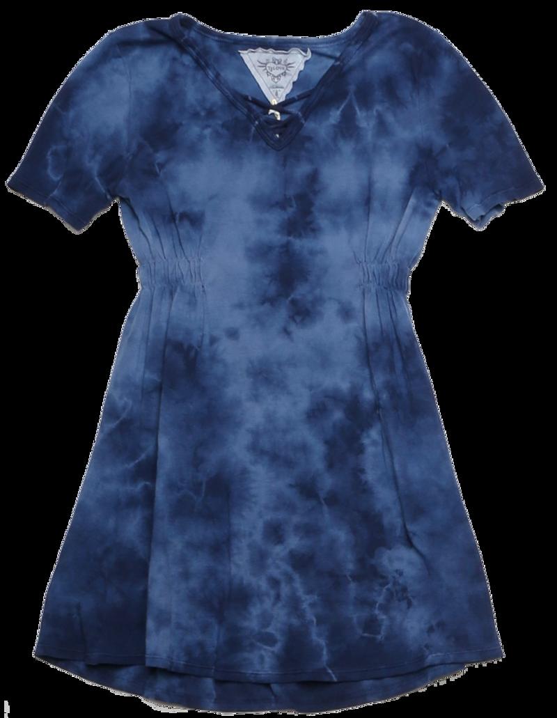 NAVY SHORT SLEEVE V-NECK LACE FRONT DRESS