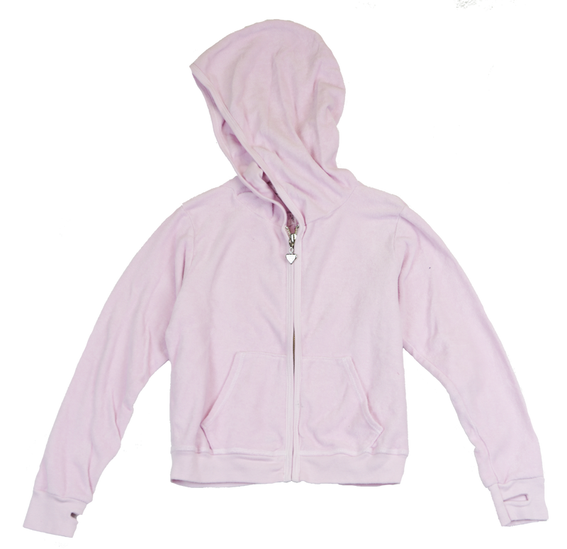 BALLERINA TERRY CLOTH COTTON HOODED ZIP JACKET WITH THUMBHOLE