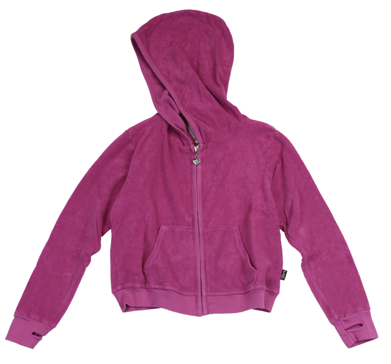 DARK FUCHSIA TERRY CLOTH COTTON HOODED ZIP JACKET WITH THUMBHOLE