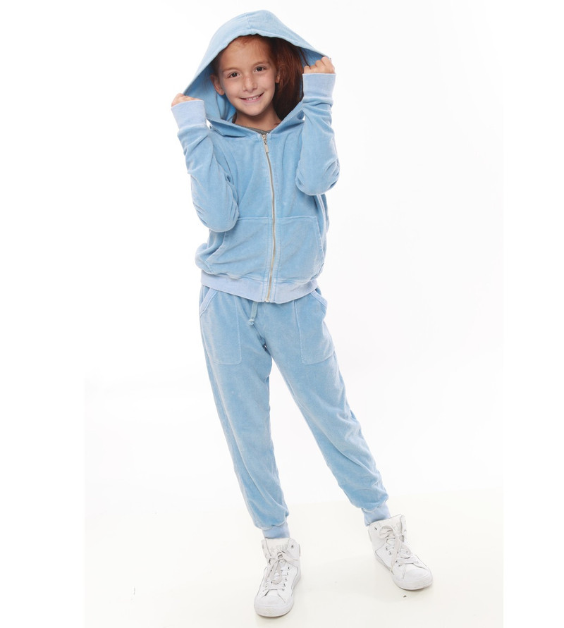 DREAM BLUE TERRY CLOTH COTTON HOODED ZIP JACKET WITH THUMBHOLE