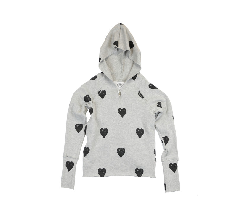 GREY HEATHER LONG SLEEVE  TERRY FLEECE CROSS BACK HOODIE WITH PRINTED BLACK HEARTS