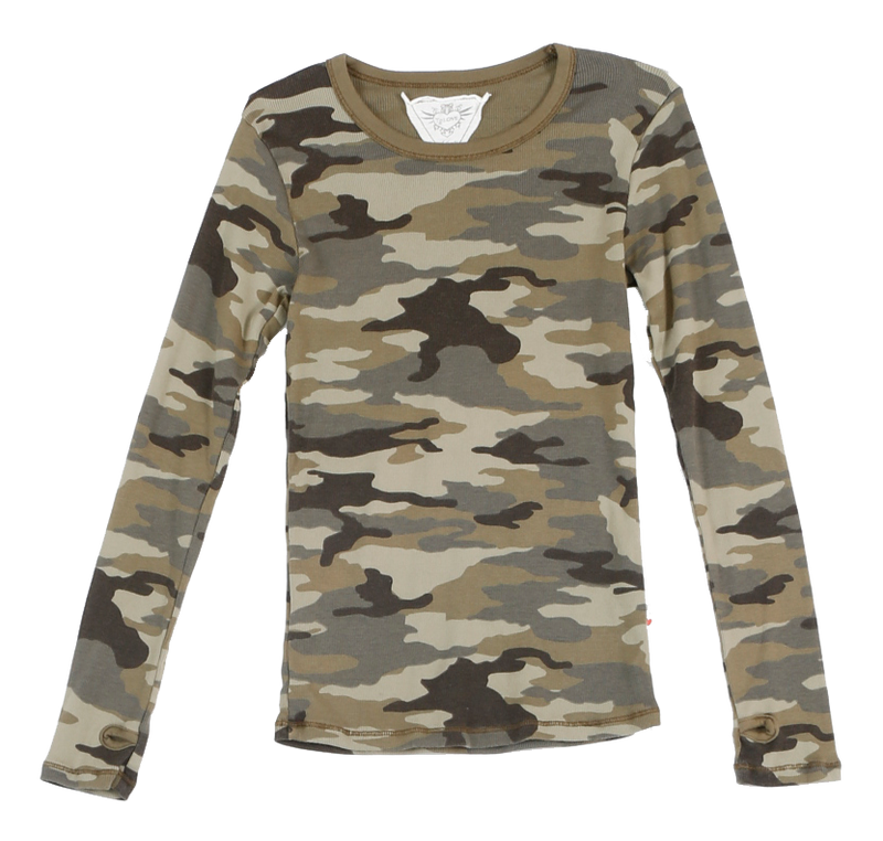 M. OLIVE CAMO PRINT THERMAL MODAL LYCRA LONG SLEEVE CREWNECK WITH THUMBHOLES