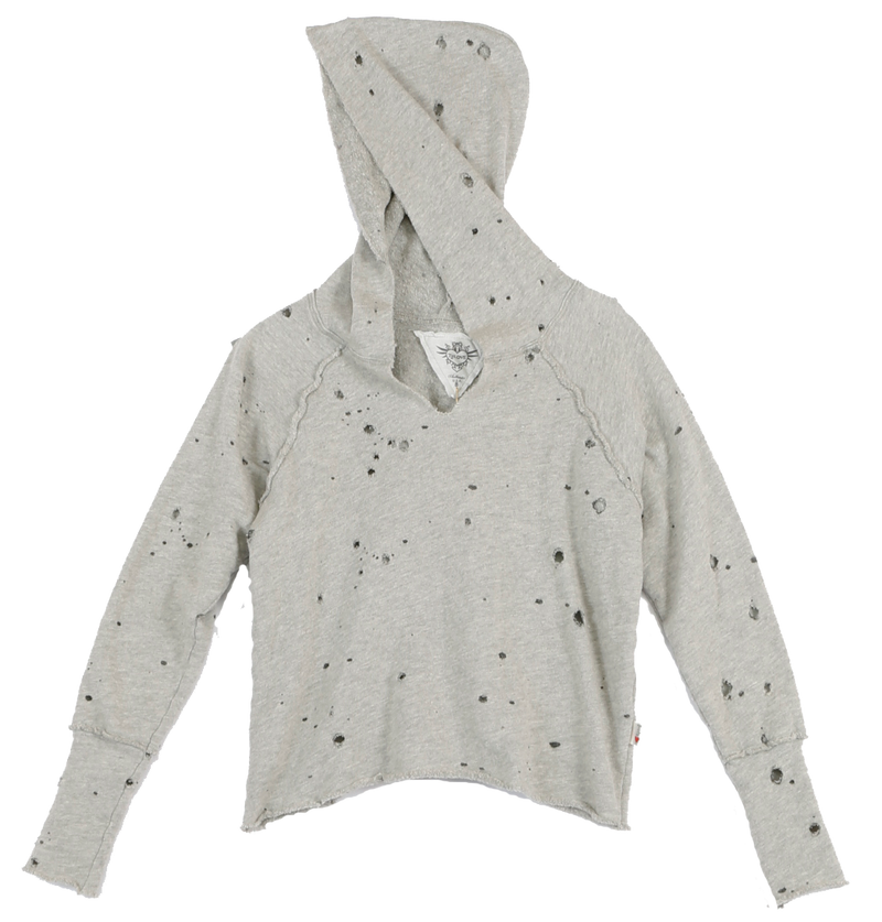 GREY  HEATHER L/S HOLEY LOOP TERRY FLEECE CROSS BACK HOODIE HOLEY (FRONT VIEW)