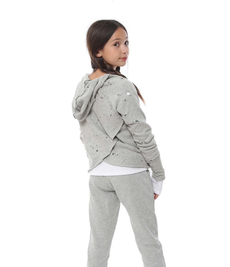 GREY HEATHER FLEECE COTTON SWEAT PANTS WITH DISTRESSED POCKETS