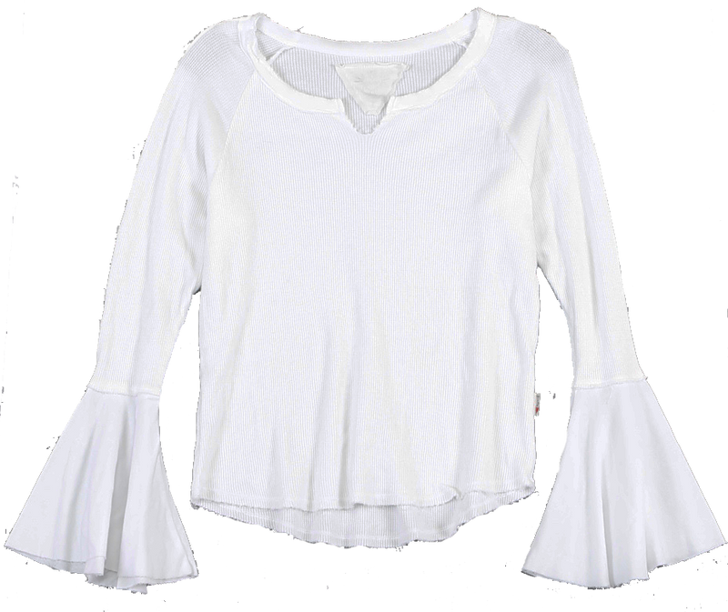 WHITE LONG SLEEVE THERMAL MODAL LYCRA BELL SLEEVE TOP WITH CUT NECK