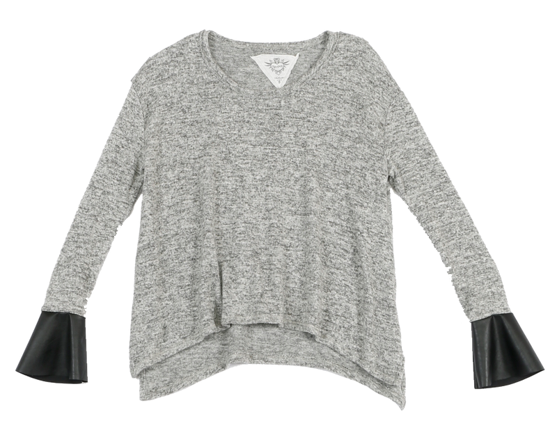 GREY HEATHER LONG SLEEVE BRUSH HACCI CREW TOP WITH LEATHER BELL CUFFS