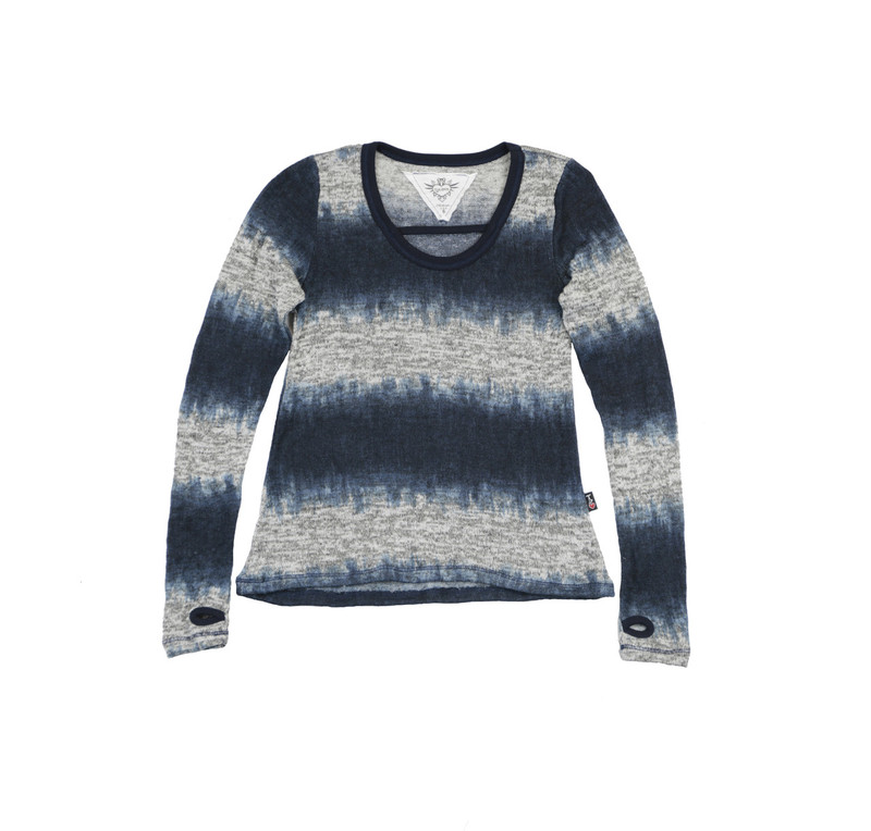 MIDNIGHT LONG SLEEVE TIE DYE SWEATER KNIT U NECK CROSS STRAP TOP