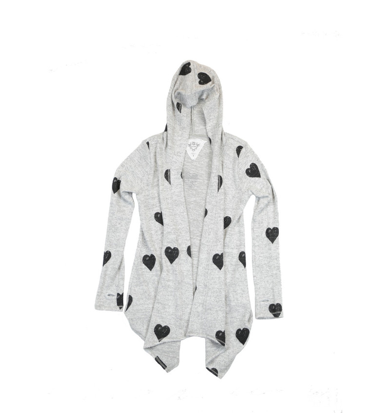 LT GREY LONG SLEEVE HOODED BLACK HEART PRINT BLUSH HACCI TUNIC WRAP WITH THUMBHOLES