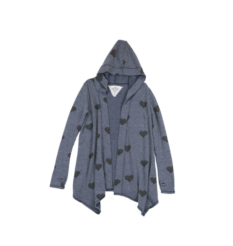 MIDNIGHT LONG SLEEVE HOODED BLACK HEART PRINT BLUSH HACCI TUNIC WRAP WITH THUMBHOLES