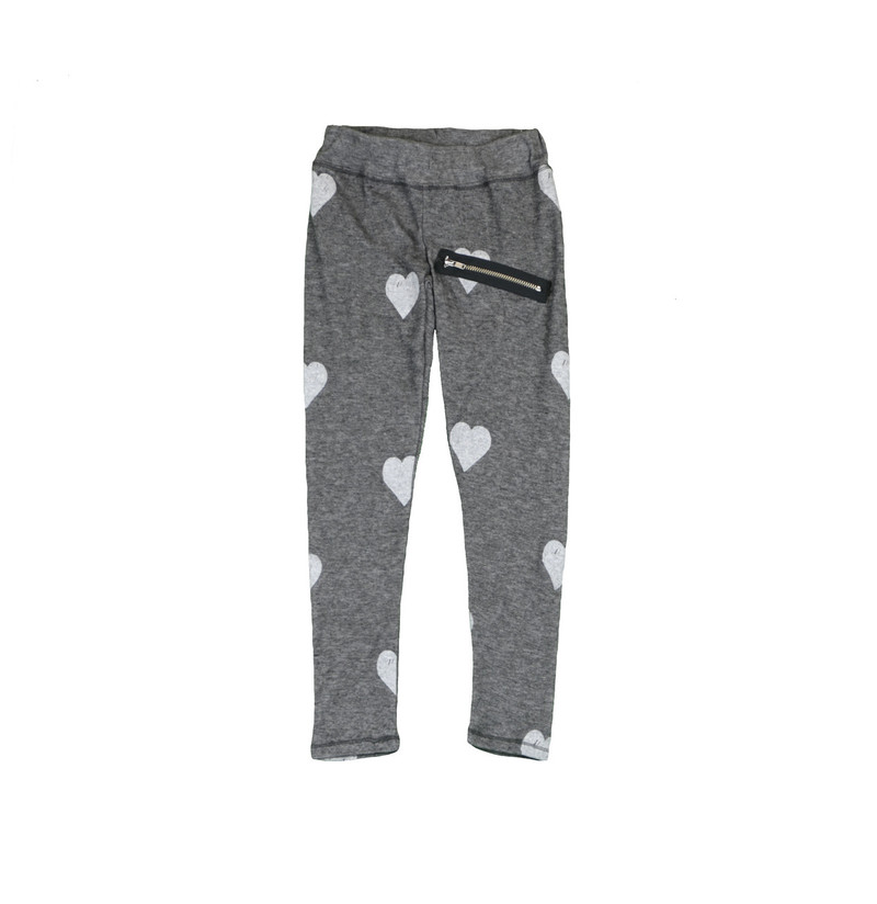 CHARCOAL GREY HACCI BLACK HEART PRINT LEGGING WITH ZIPPER DETAIL