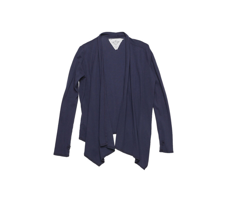 NAVY LONG SLEEVE HACCI WRAP WITH THUMBHOLE