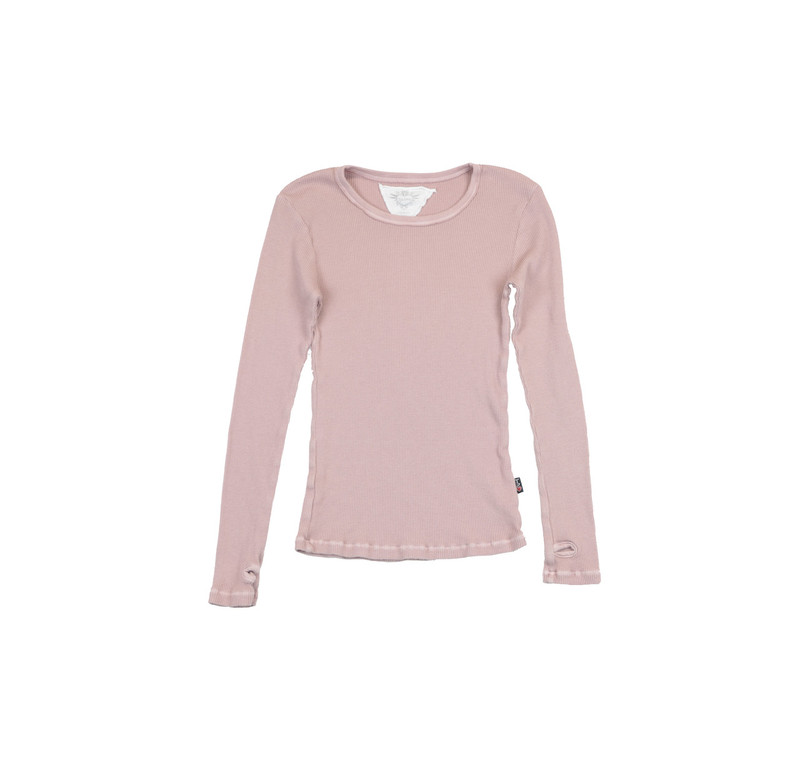 WINTER ROSE LONG SLEEVE THERMAL MODAL LYCRA CREW TOP WITH THUMBHOLE