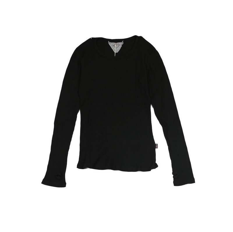 BLACK LONG SLEEVE THERMAL MODAL LYCRA CREW TOP WITH THUMBHOLE