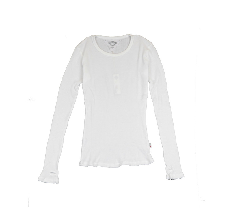 WHITE LONG SLEEVE THERMAL MODAL LYCRA CREW TOP WITH THUMBHOLE