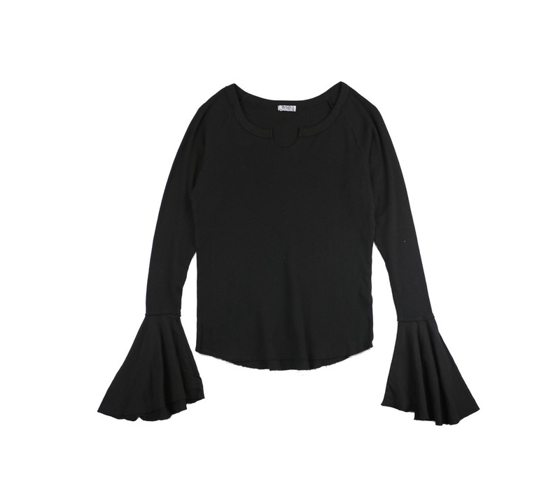 BLACK LONG SLEEVE THERMAL MODAL LYCRA BELL SLEEVE TOP WITH CUT NECK