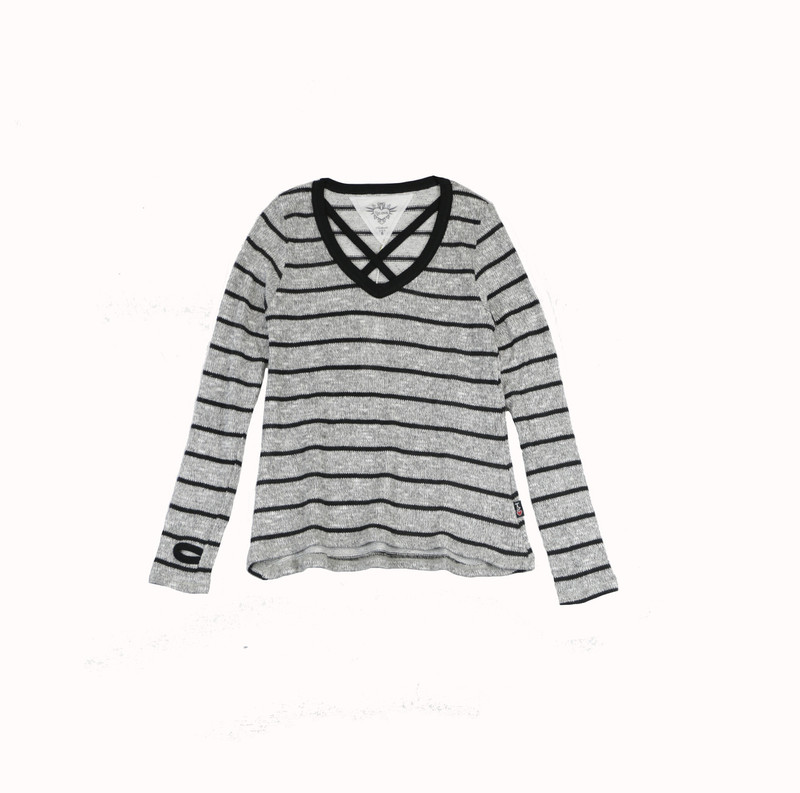 GREY WITH BLACK STRIPES LONG SLEEVE DOUBLE CROSS V NECK TOP