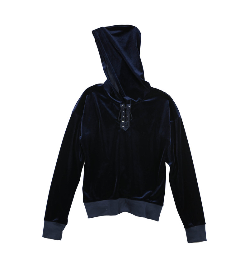 WOMEN LONG SLEEVE VELVET POLY SPANDEX LACE FRONT HOODED PULLOVER