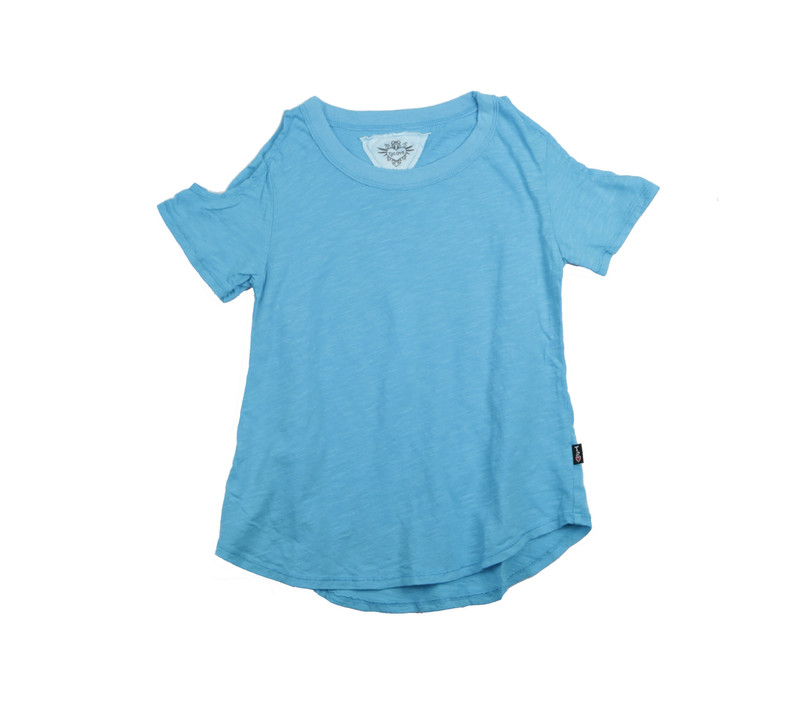 BLUE LAGOON SHORT SLEEVE COLD SHOULDER TEE