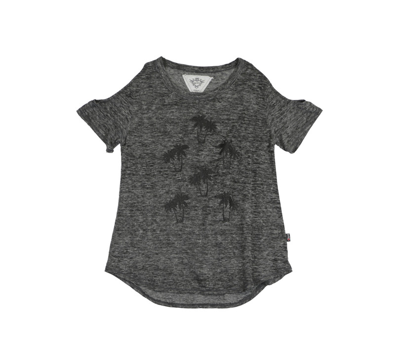CHARCOAL SHORT SLEEVE COLD SHOULDER TEE: BLACK PALM TREES SCREEN PRINT