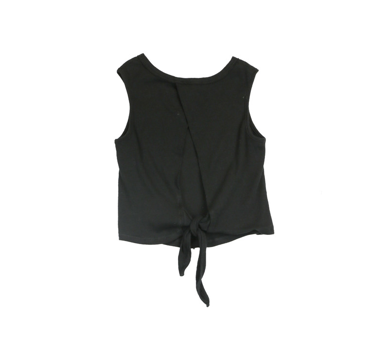 BLACK RIB COTTON LYCRA TIE BACK SLEEVELESS TOP - BACK VIEW