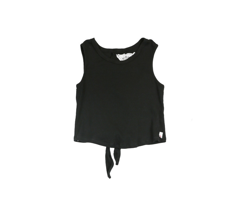 BLACK RIB COTTON LYCRA TIE BACK SLEEVELESS TOP - FRONT VIEW