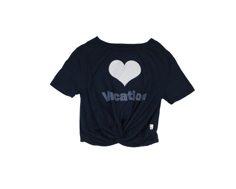INDIGO SHORT SLEEVE TIE KNOT TEE WITH LOVE VACATION