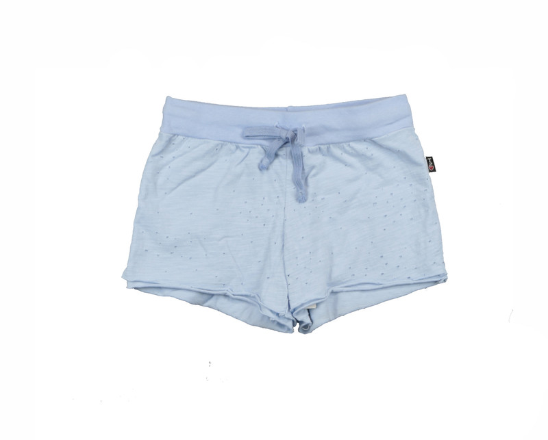 BABY BLUE JERSEY COTTON DOUBLE LAYER RAW SHORT