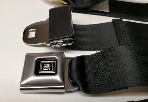 """Metal GM Push Button Black Lap/Seatbelt 74"""""""