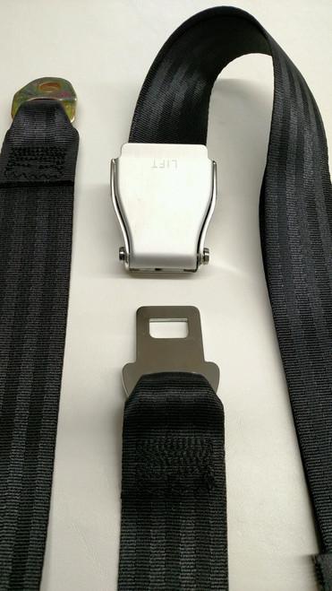 "Aluminum Lift-Latch Black Lap/Seat Belt 74"""